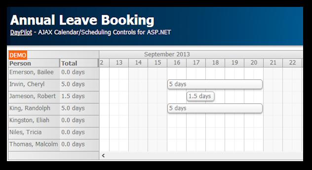Annual Leave Booking (ASP.NET, C#, VB, SQL Server) | DayPilot Code