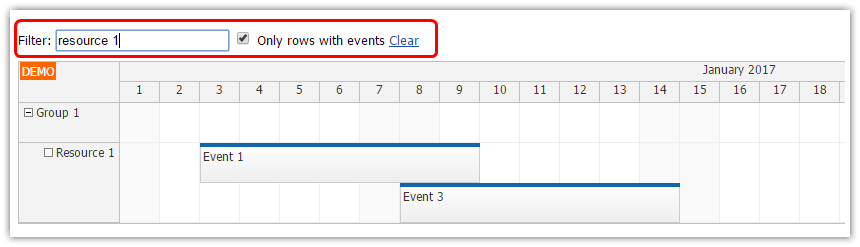 angular 2 scheduler row filtering