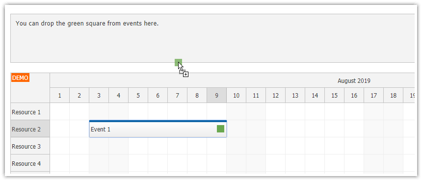 JavaScript Scheduler: Dragging Items from Events