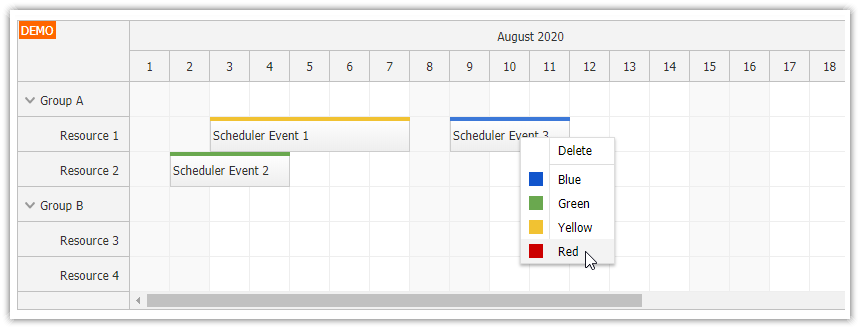 angular scheduler dynamic context menu