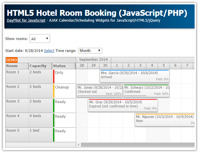 HTML5 Hotel Room Booking (JavaScript/PHP) | DayPilot Code