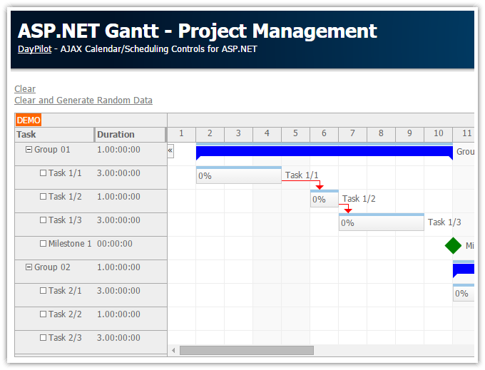 ASP.NET Gantt - Project Management (C#, VB.NET, SQL Server)
