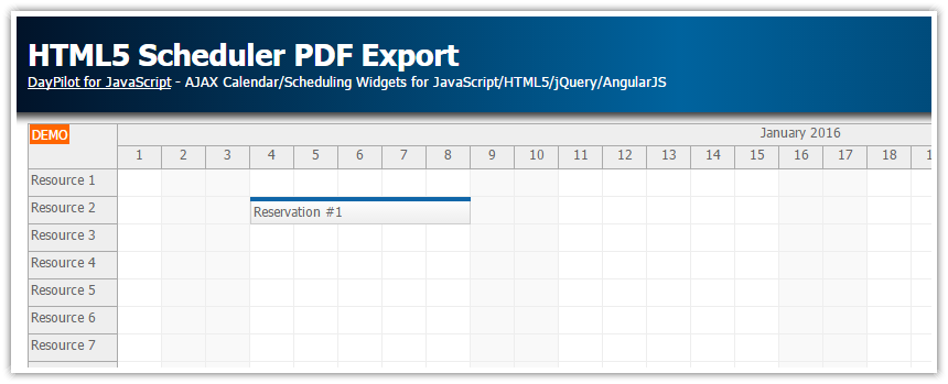 html5 scheduler pdf export client side
