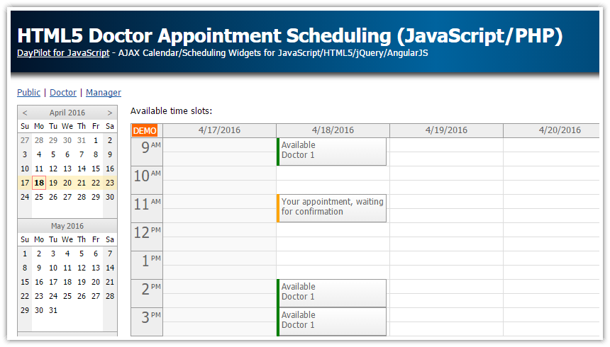 Html5 Doctor Appointment Scheduling Javascript Php