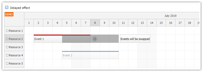 javascript scheduler event swapping drag and drop