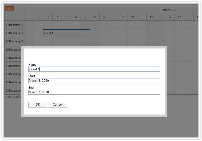 JavaScript Scheduler: How to Edit Multiple Fields using a Modal Dialog