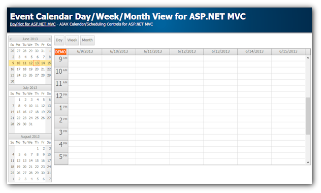 event calendar asp.net mvc week