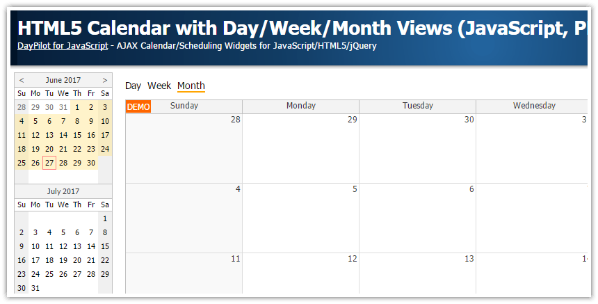 Weekly Calendar Js : Html calendar with day week month views javascript php