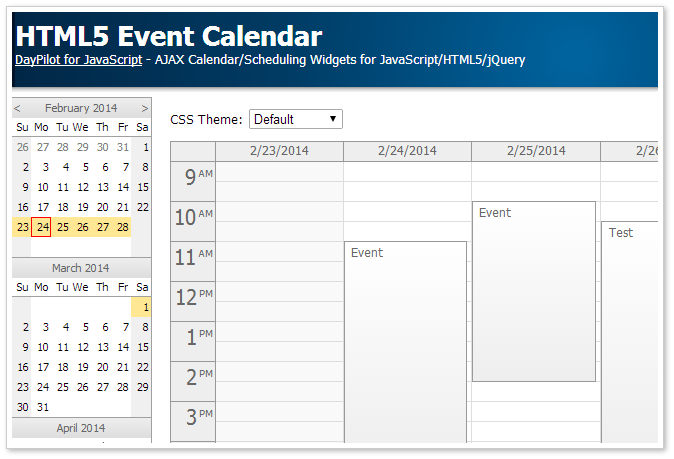 HTML5 Event Calendar (Open-Source) | DayPilot Code