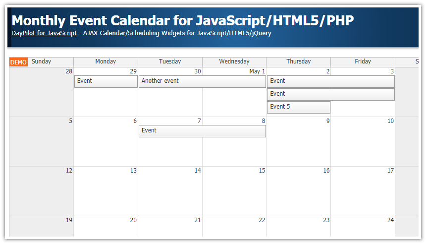 Weekly Calendar Js : Monthly event calendar for javascript html php daypilot