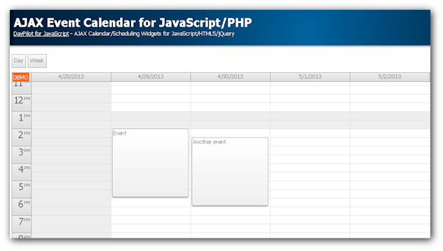 Weekly Calendar Using Javascript : Event calendar widget for javascript php daypilot code