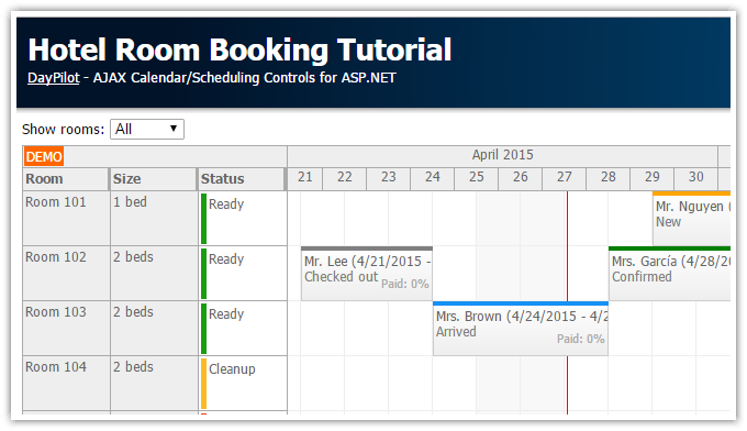 Hotel Room Booking Tutorial Asp C Vb Sql Server Daypilot