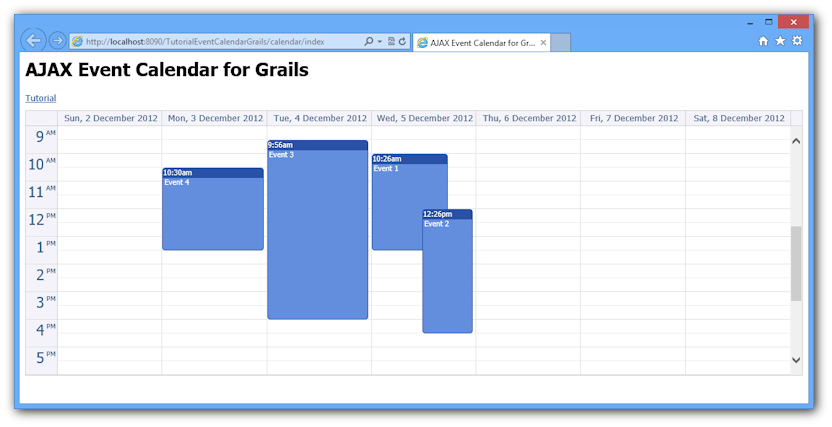ajax event calendar grails open source