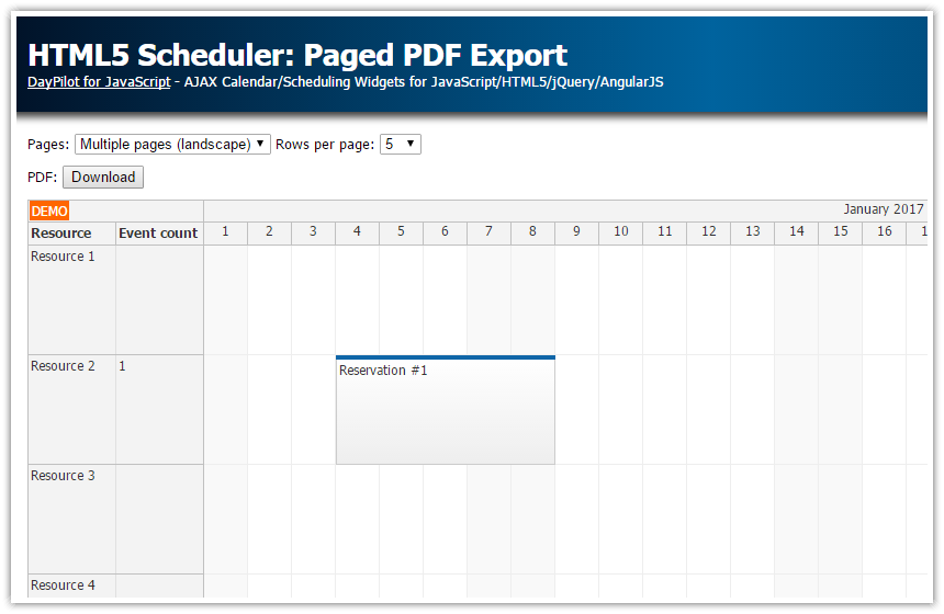 HTML5 Scheduler: Paged PDF Export