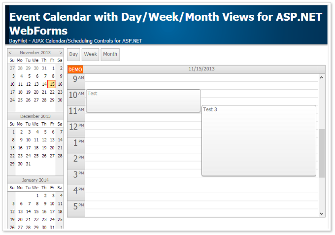 Weekly Calendar Using Javascript : Event calendar with day week month views for asp