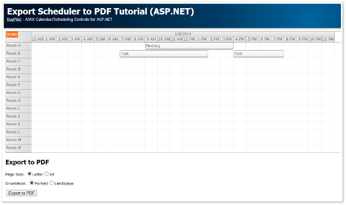 Scheduler PDF Export (ASP.NET, C#, VB, SQL Server)