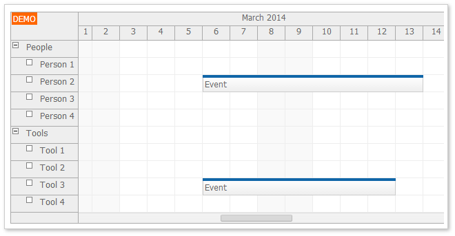 HTML5 Scheduler with Dynamic Event Loading