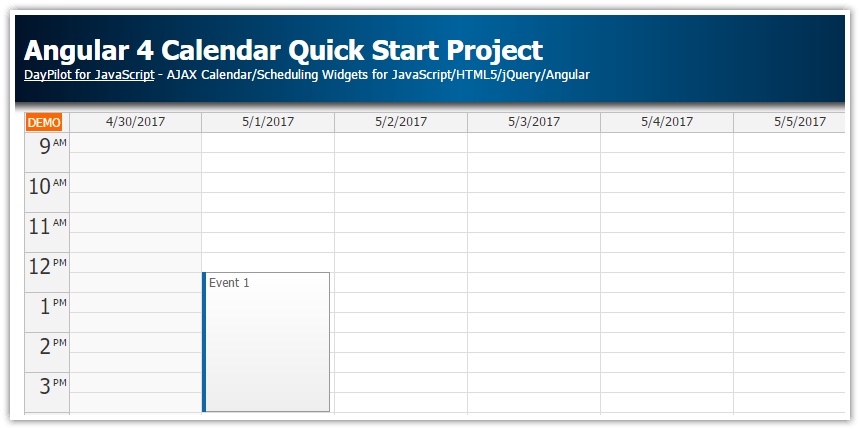 Angular 4 Calendar Quick Start Project