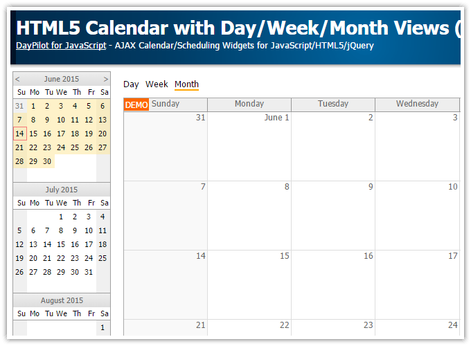 Monthly Calendar Using Javascript : Html calendar with day week month views javascript php