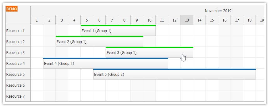 javascript scheduler highlighting related events