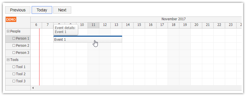 HTML5 Scheduler: Infinite Scrolling