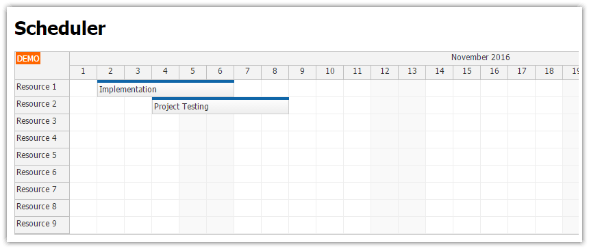 Angular 6 Scheduler UI with Spring Boot Backend (Java)