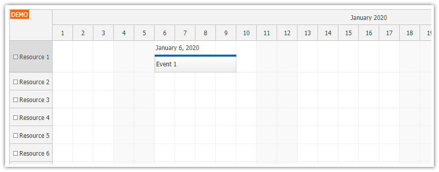 JavaScript Scheduler: Displaying Text above Events
