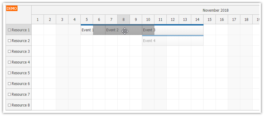 javascript scheduler push existing events forward drag drop
