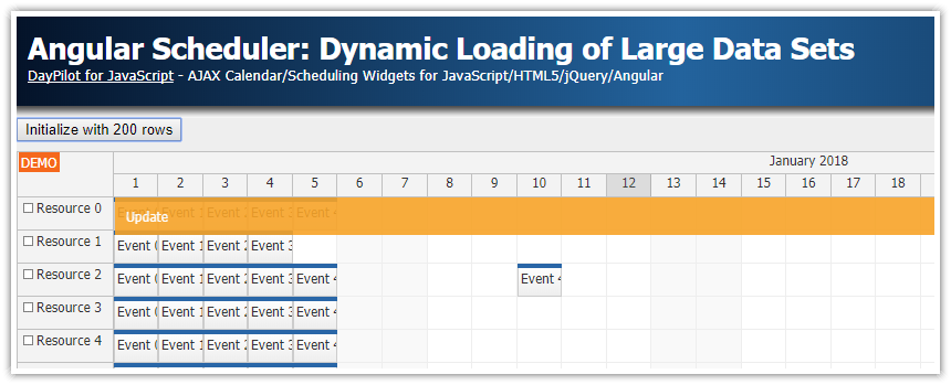 angular scheduler dynamic loading typescript php