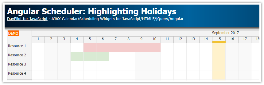 angular scheduler highlighting holidays
