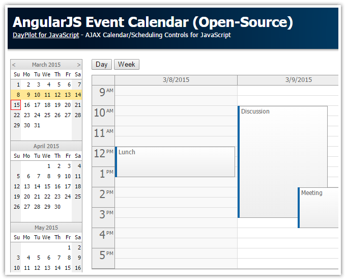 AngularJS Event Calendar (Open-Source) | DayPilot Code