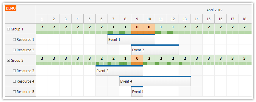 javascript scheduler displaying group availability