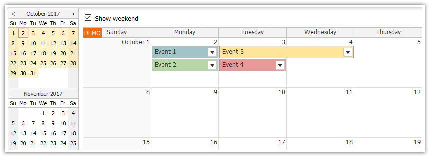Using JavaScript/HTML5 Monthly Calendar in Spring Boot (Java)