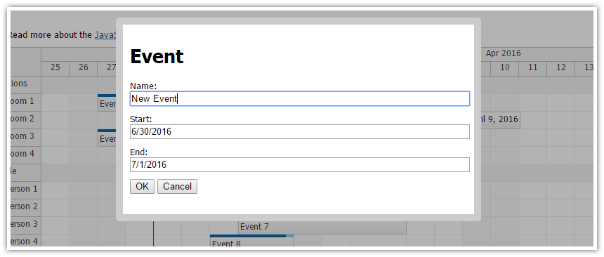 daypilot javascript modal dialog open source