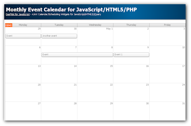 monthly event calendar for javascript html5 php daypilot code. Black Bedroom Furniture Sets. Home Design Ideas