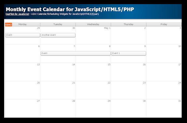 Design Calendar Using Javascript : Monthly event calendar for javascript html php daypilot