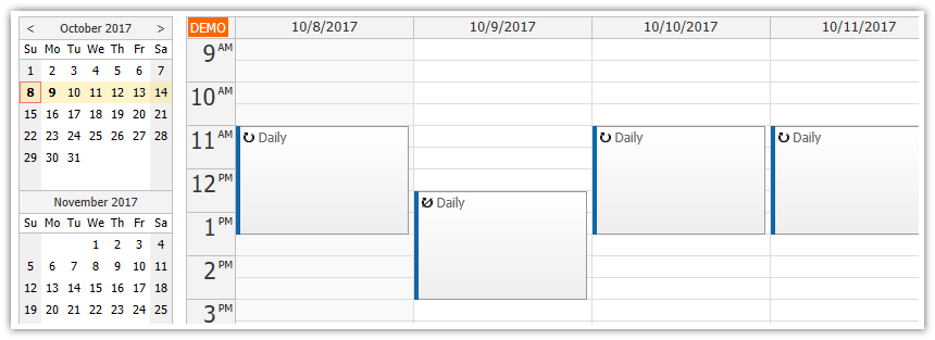 asp.net calendar recurring events