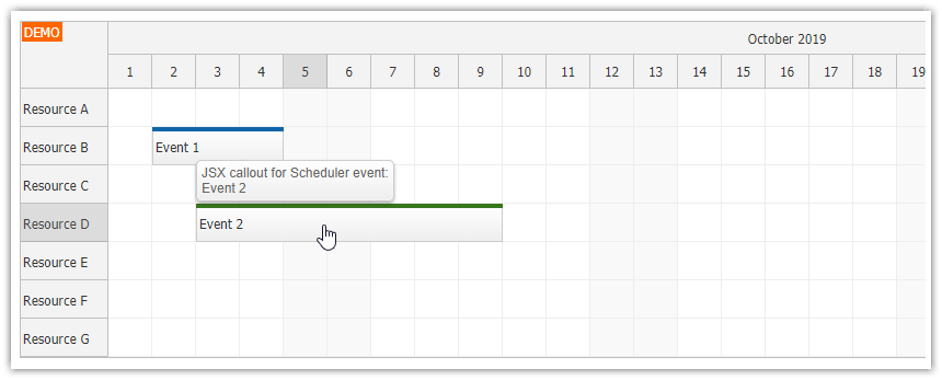 React Scheduler: Rendering JSX Component in Callout (Bubble)