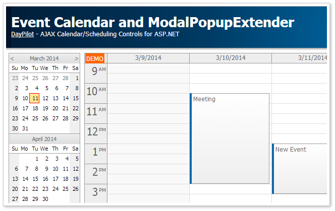 Event Calendar And Modalpopupextender C Asp Net