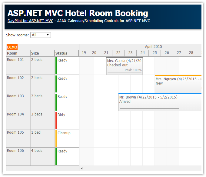 Asp net mvc hotel room booking daypilot code for Booking design hotel