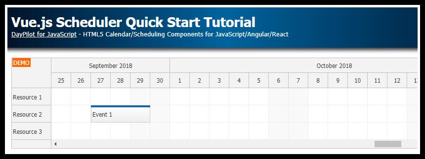 Vue js Scheduler Quick Start Tutorial | DayPilot Code