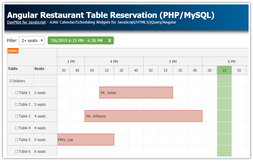 Angular 9 Restaurant Table Reservation (PHP/MySQL)
