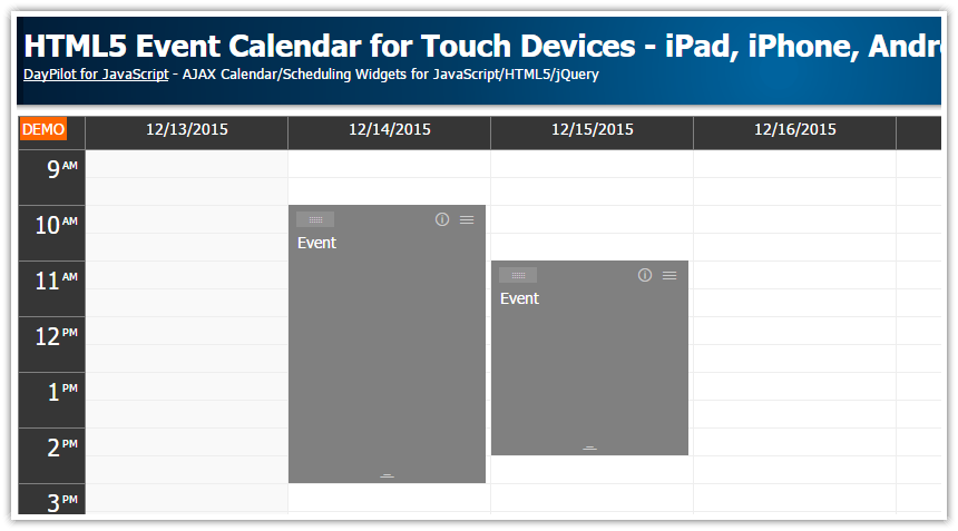 HTML5 Event Calendar for Touch Devices - iPad, iPhone