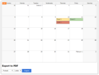 JavaScript Monthly Calendar: PDF Export