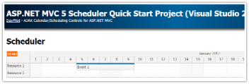 ASP.NET MVC 5 Scheduler Quick Start Project (Visual Studio 2015)