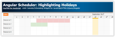 Angular Scheduler: Highlighting Holidays