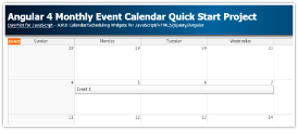 Angular 4 Monthly Event Calendar Quick Start Project