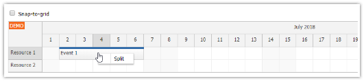 HTML5 Scheduler: Splitting an Event