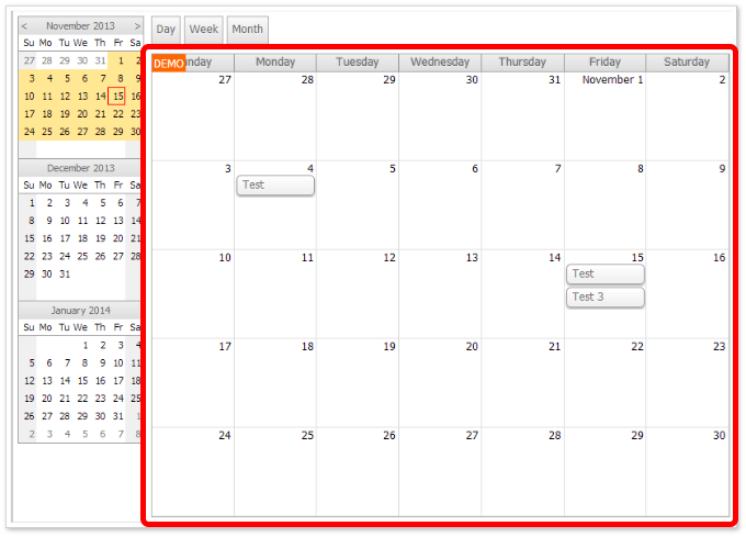 Monthly Calendar Using Javascript : Event calendar with day week month views for asp