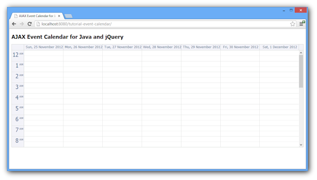 Weekly Calendar Java : Ajax event calendar for java and jquery open source